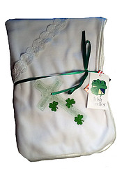 Irish Bundles Christening Blanket with emerald embroidery
